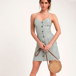 Green and White Striped Mini Dress